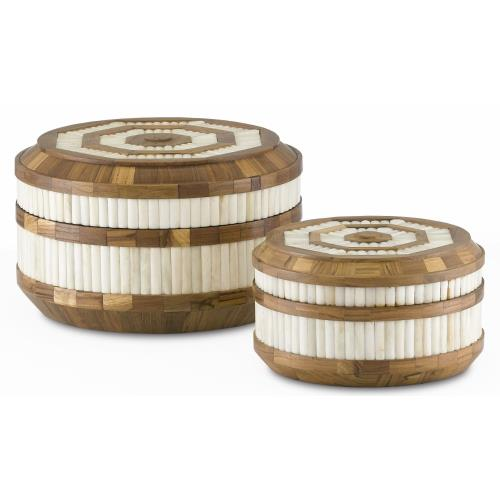 Currey and Company 1200-0286 Banjhara - 12 Inch Round Box (Set of 2)