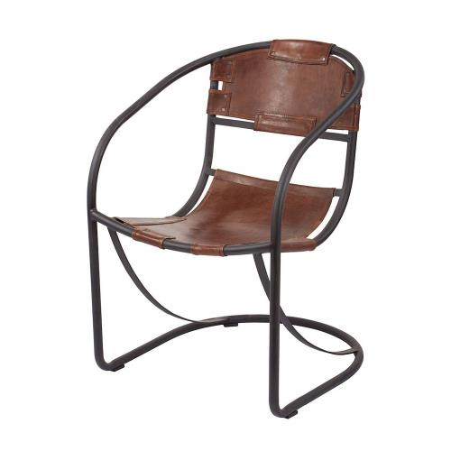 "Dimond Home 161-001 Retro - 35.5"" Round Back Leather Lounger"