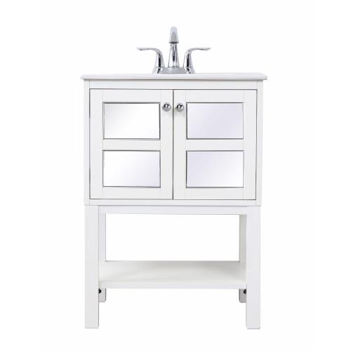 "Elegant Decor VF25MR Mason - 24"" Single Bathroom Mirrored Vanity Set"
