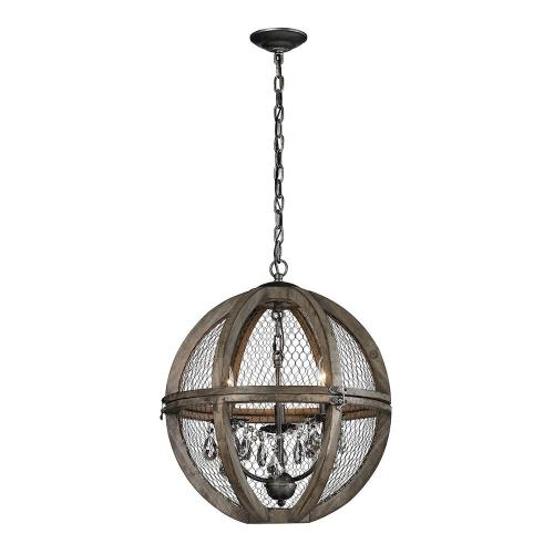 Elk-Home 140-007-GM Renaissance Invention - Traditional Style w/ FrenchCountry inspirations - 3 Light Small Wood And Wire Chandelier - 21 Inches tall 18 Inches wide