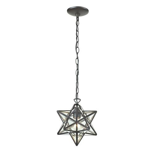 Elk-Home 145-002 Star - Traditional Style w/ Luxe/Glam inspirations - Glass and Metal 1 Light Mini Pendant - 12 Inches tall 11 Inches wide