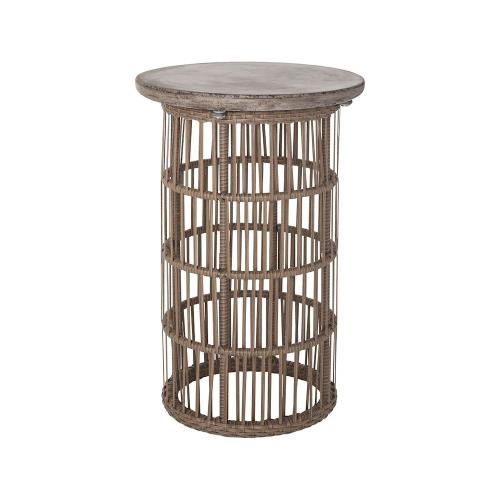 Elk-Home 157-023 Refuge - Transitional Style w/ ModernFarmhouse inspirations - Concrete and Poly Rattan Side Table - 23 Inches tall 16 Inches wide