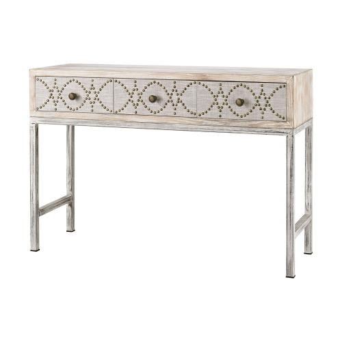 Elk-Home 3183-016 Albiera - Transitional Style w/ FrenchCountry inspirations - Fabric and Metal and Wood 3-Drawer Desk - 33 Inches tall 47 Inches wide