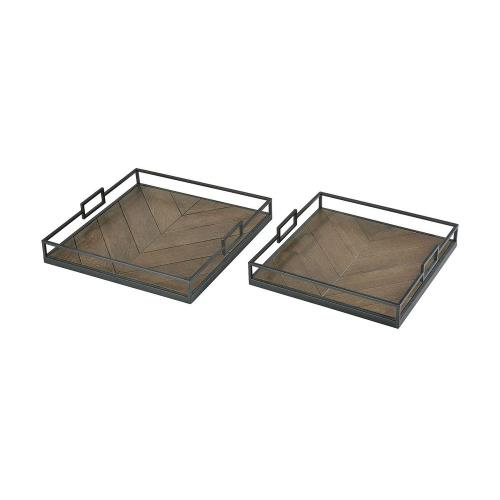 Elk-Home 3200-140/S2 Circa - Transitional Style w/ ModernFarmhouse inspirations - Fir Wood and Metal Tray (Set of 2) - 3 Inches tall 18 Inches wide