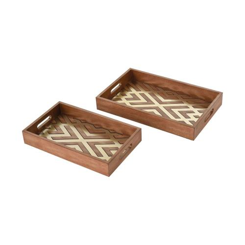 Elk-Home 351-10567/S2 Choctaw Trays - Transitional Style w/ ModernFarmhouse inspirations - Metal and Wood Tray (Set of 2) - 3 Inches tall 19 Inches wide