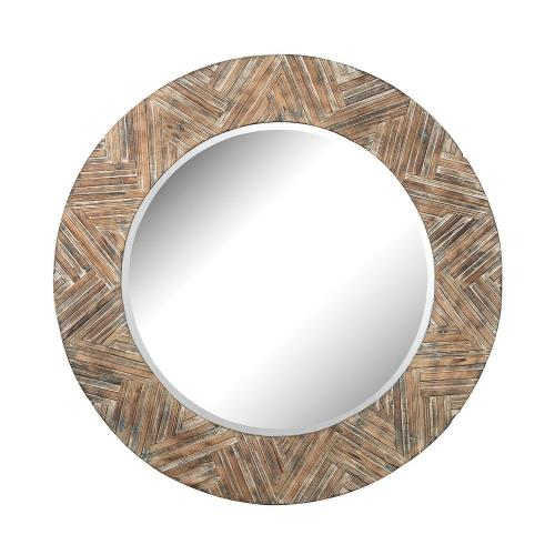 Elk-Home 51-10162 Transitional Style w/ Urban/Industrial inspirations - Mirror and Wood Large Round Wood Mirror - 48 Inches tall 2 Inches wide
