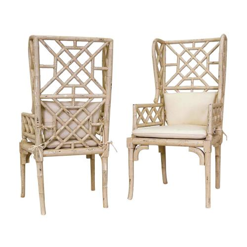 Elk-Home BambooChair Bamboo - 47 Inch Wing Back Chair (Set of 2)