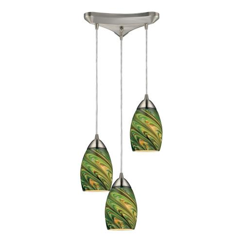 Elk Lighting 10089/3 Vortex - 3 Light Triangular Pendant in Transitional Style with Luxe/Glam and Boho inspirations - 7 Inches tall and 5 inches wide