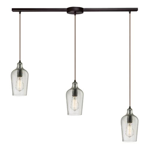Elk Lighting 10331/3 Hammered Glass - 3 Light Linear Pendant in Transitional Style with Southwestern and Vintage Charm inspirations - 10 Inches tall and 5 inches wide