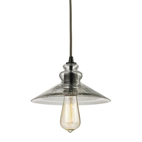 Elk Lighting 10332/1 Hammered Glass - 1 Light Mini Pendant in Transitional Style with Modern Farmhouse and Vintage Charm inspirations - 5 Inches tall and 9 inches wide