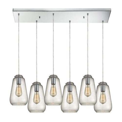 Elk Lighting 10423/6RC Orbital - Six Light Rectangular Pendant