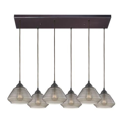 Elk Lighting 10434/6RC Orbital - Six Light Rectangular Pendant