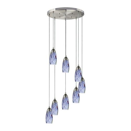 Elk Lighting 110-8R-BL Milan - 8 Light Round Pendant in Transitional Style with Coastal/Beach and Eclectic inspirations - 7 Inches tall and 18 inches wide