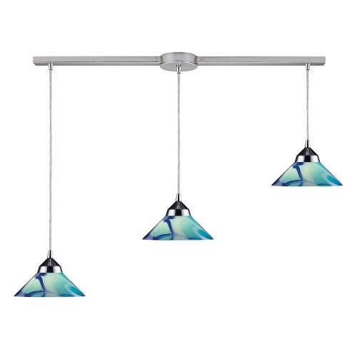 Elk Lighting 1477/3 Refraction - 3 Light Linear Pendant in Modern/Contemporary Style with Art Deco and Luxe/Glam inspirations - 4 Inches tall and 5 inches wide
