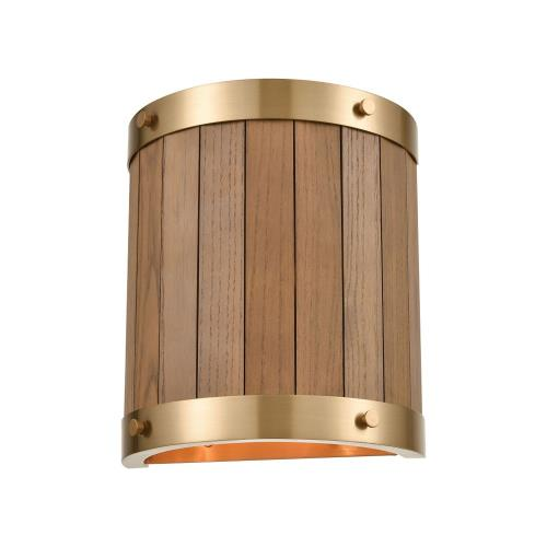 Elk Lighting 33370/2 Wooden Barrel - 2 Light Wall Sconce in Transitional Style with Modern Farmhouse and Country/Cottage inspirations - 10 Inches tall and 9 inches wide