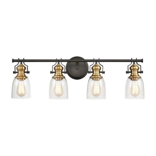 Elk Lighting 66627-4 Chadwick - 4 Light Bath Vanity in Transitional Style with Modern Farmhouse and Urban/Industrial inspirations - 10 Inches tall and 32 inches wide