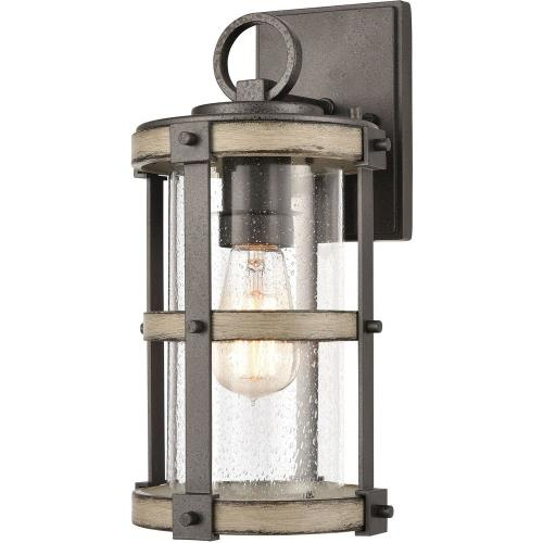 Elk Lighting 89144/1 Crenshaw - 1 Light Outdoor Wall Sconce in Transitional Style with Modern Farmhouse and Country/Cottage inspirations - 14 Inches tall and 7 inches wide