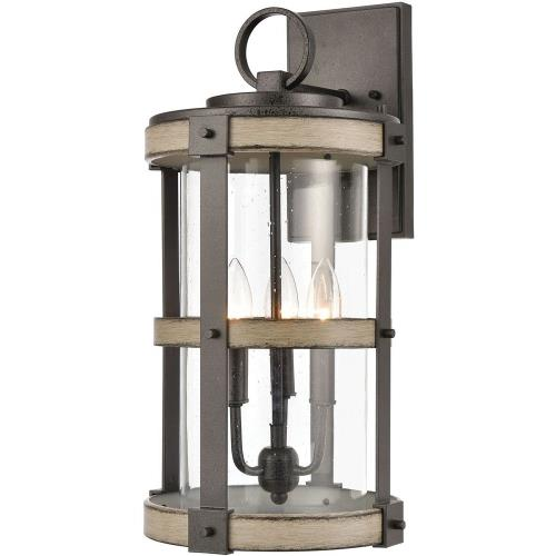 Elk Lighting 89146/3 Crenshaw - 3 Light Outdoor Wall Sconce in Transitional Style with Modern Farmhouse and Country inspirations - 20 Inches tall and 10 inches wide