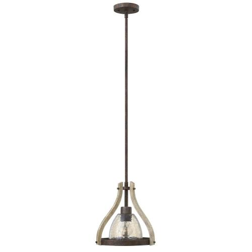 Fredrick Ramond Lighting FR40577IRR Middlefield-1 Light Rustic Small Small Pendant with Wood and Metal Design-12 Inches Wide by 11 Inches Tall