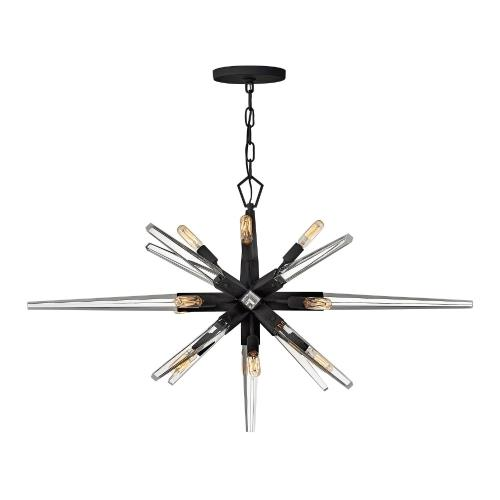 Fredrick Ramond Lighting FR47409BLK Ariel - Twelve Light Linear Chandelier