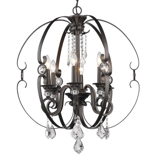 Golden Lighting 1323-6 Ella Chandelier 6 Light  Steel