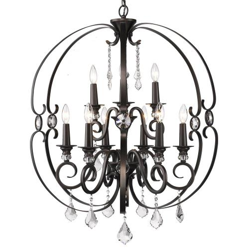 Golden Lighting 1323-9 Ella Chandelier 9 Light  Steel