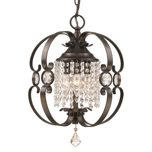 Golden Lighting 1323-M3 Ella Mini Chandelier   Steel