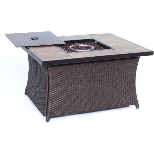 "Hanover COFFEETBLFP-TILE Woven - 43.82"" Coffee Table Fire Pit with Porcelain Tile Top and Lid"
