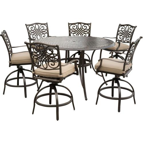 "Hanover TRADDN7PCBR Traditions - 56"" 7 Piece Dining Bar Set with 6 Countr Hght Swivel Chairs"
