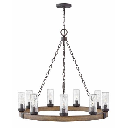 Hinkley Lighting 29208 Sawyer - 9 Light Large Outdoor Hanging Lantern in Rustic Style - 30 Inches Wide by 27.75 Inches High