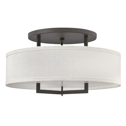 Hinkley Lighting 3211 Hampton - 3 Light Large Semi-Flush Mount in Transitional Style - 26 Inches Wide by 14.5 Inches High