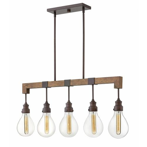 Hinkley Lighting 3266 Denton - 5 Light Linear Chandelier in Rustic, Industrial, Scandinavian Style - 36 Inches Wide by 15.5 Inches High
