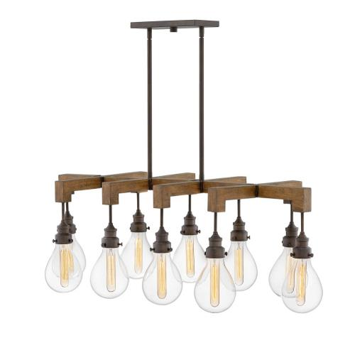 Hinkley Lighting 3269 Denton - 10 Light Large Linear Chandelier in Rustic, Industrial, Scandinavian Style - 48.5 Inches Wide by 16.25 Inches High