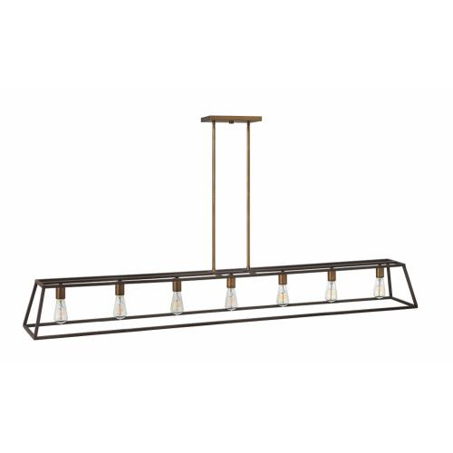 Hinkley Lighting 3355 Fulton - 7 Light Open Frame Linear Chandelier in Transitional, Industrial Style - 65 Inches Wide by 9.75 Inches High