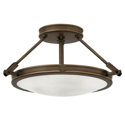 Hinkley Lighting 3381 Collier - 3 Light Small Semi-Flush Mount in Traditional, Mid-Century Modern Style - 16.5 Inches Wide by 9.25 Inches High