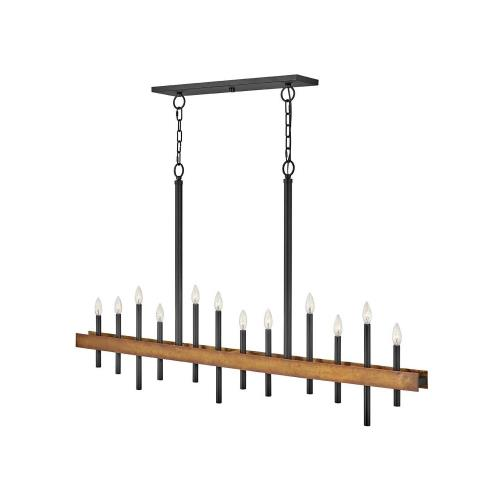 Hinkley Lighting 3864 Wells - Twelve Light Linear Chandelier in Transitional, Industrial Style - 60.25 Inches Wide by 35.75 Inches High