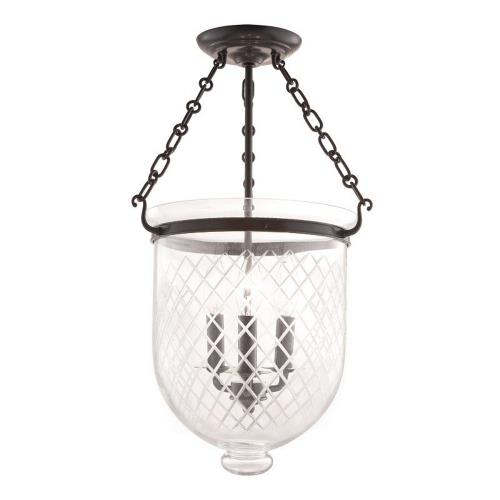 Hudson Valley Lighting 253-116-G2 Hampton - Three Light Flush Mount with Argyle Pattern Glass - 12 Inches Wide by 20.25 Inches High