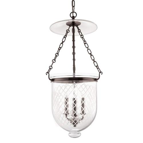 Hudson Valley Lighting 254-116-G2 Hampton - Three Light Pendant with Argyle Pattern Glass - 12 Inches Wide by 25 Inches High
