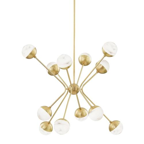 Hudson Valley Lighting 2836-AGB Saratoga - 36 Inch 48W 12 LED Chandelier in Contemporary/Modern Style - 36 Inches Wide by 31 Inches High