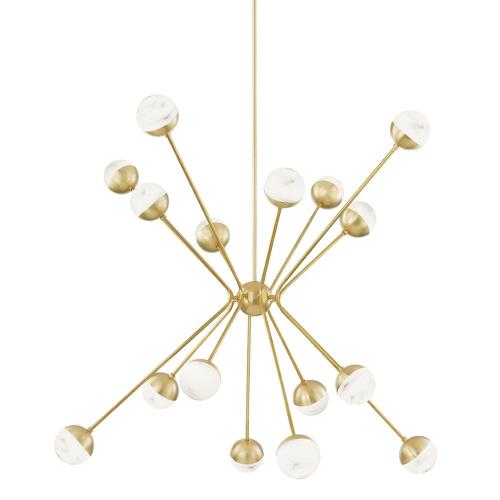 Hudson Valley Lighting 2851-AGB Saratoga - 62.5 Inch 64W 16 LED Chandelier in Contemporary/Modern Style - 62.5 Inches Wide by 44.625 Inches High