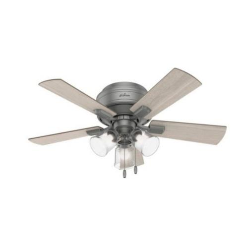 """Hunter Fans 51025 Crestfield 42"""" Low Profile Ceiling Fan with LED Light and Pull Chain"""