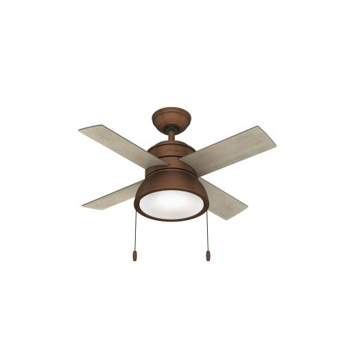 Hunter Fans 510 Loki - 36 Inch 4 Blade Ceiling Fan with Light Kit and Pull Chain