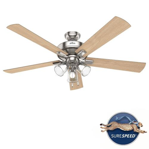 Hunter Fans 51097 Crestfield-5 Blade Ceiling Fan with Light Kit and Pull Chain in Transitional Style-60 Inches Wide by 18.96 Inches High