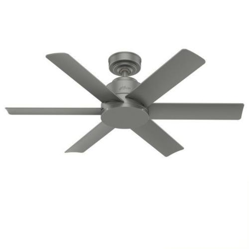 Hunter Fans 51115 Kennicott-Outdoor Matte Silver Ceiling Fan with Wall Control in Industrial Style-44 Inches Wide by 12.76 Inches High