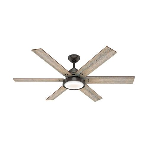 Hunter Fans 59461 Warrant-Noble Bronze Ceiling Fan with Wall Control and LED Light Kit in Farmhouse Style-60 Inches Wide by 16.87 Inches High