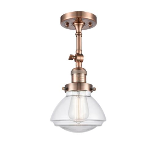 Innovations Lighting 201F-G32-LED Olean-3.5W 1 LED Semi-Flush Mount in Industrial Style-6.75 Inches Wide by 11.25 Inches High