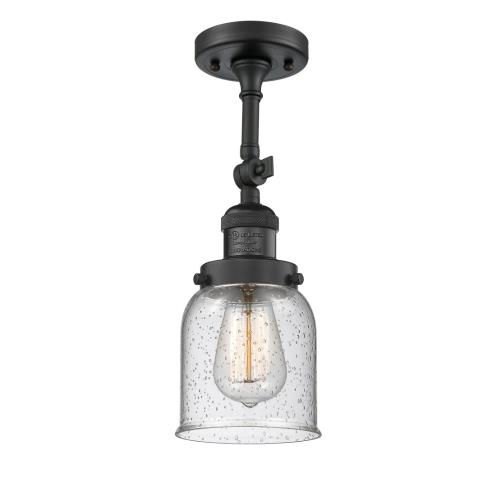 Innovations Lighting 201F-G5 Small Bell-1 Light Semi-Flush Mount in Industrial Style-5 Inches Wide by 16 Inches High
