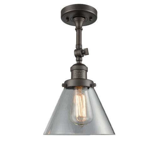 Innovations Lighting 201F-G4 Large Cone-1 Light Semi-Flush Mount in Industrial Style-7.75 Inches Wide by 14.5 Inches High