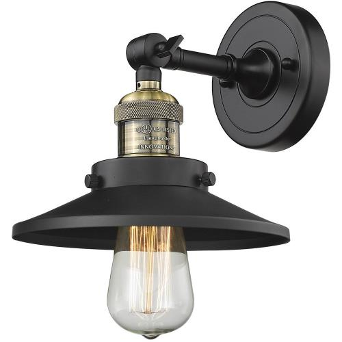 Innovations Lighting 203-M1-M7 Railroad-1 Light Wall Sconce in Traditional Style-8 Inches Wide by 8 Inches High