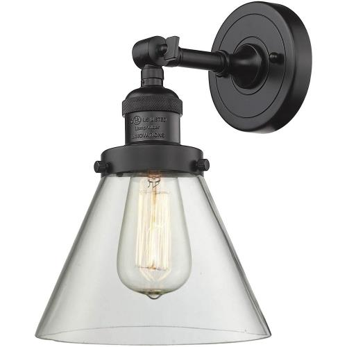 Innovations Lighting 203-G4 Large Cone-1 Light Wall Sconce in Industrial Style-8 Inches Wide by 10 Inches High